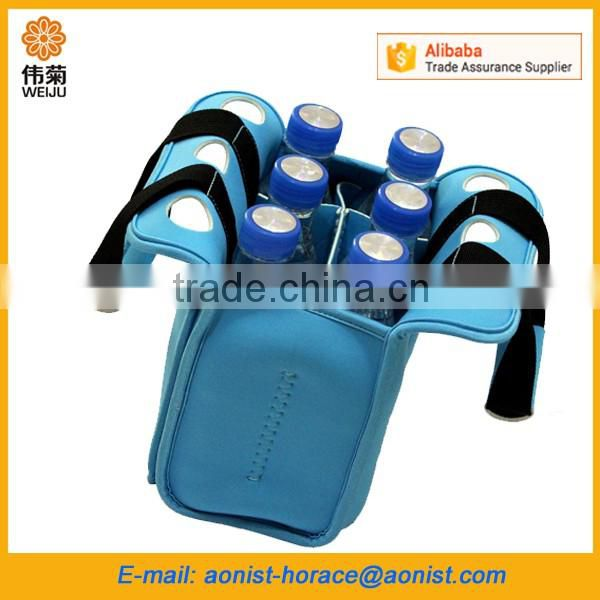 Insulated neoprene six pack beer bottle carrier, portable picnic beer cooler bag