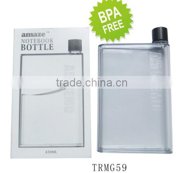 Newst plastic 420ml BPA free notebook water bottle/A5 size memo drinking bottle