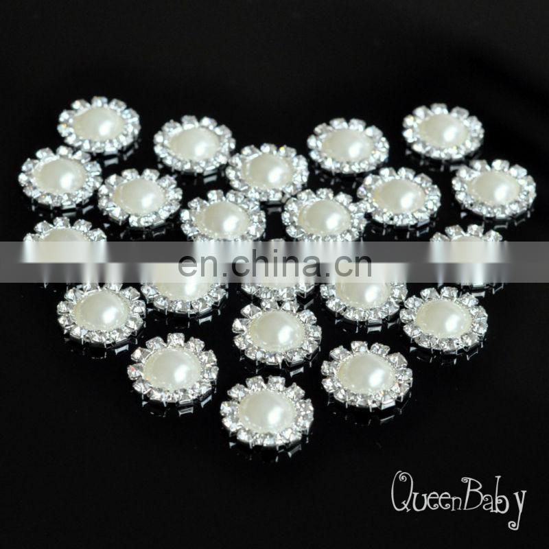 20mm Bling Pearl Button Alloy Metal Buttons Flat Back