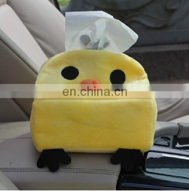 custom Cheap promotional plush tissue box animal plush tissue case cover for living room, office or car