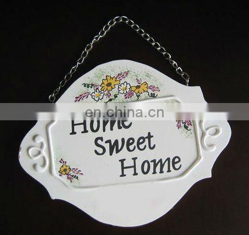 Resin Hand Painted Welcome Sign Doorplate Hanging Home Garden Decoration with Flowers and Ladybirds