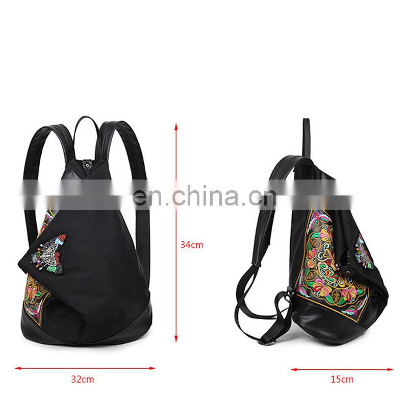 Ethnic style backpack high quality canvas backpack hemp backpack from guangzhou suppliers