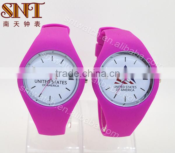 Nice silicone watch with Americe flag design dial on sale