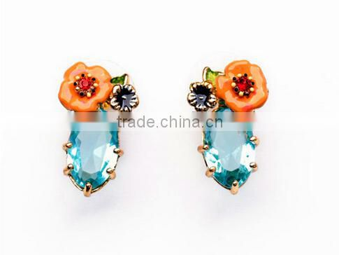 2015 pink blue topaz flower stud earrings for women imitation diamond jewelry vintage acrylic indian jewelry lovely rhinestone
