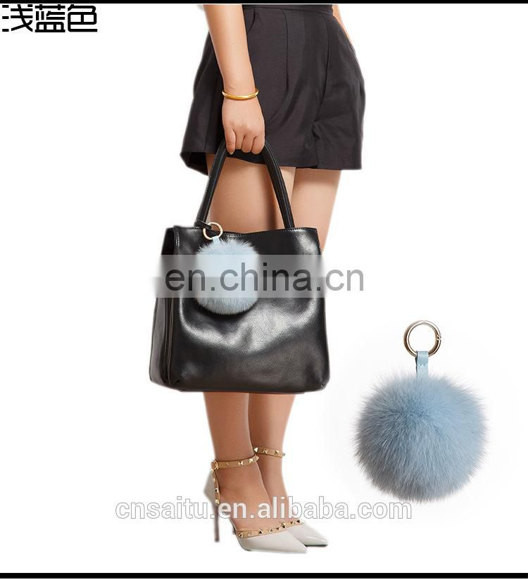 Large Size Ocean Blue Fox Fur Hair Pompom Ball Key Chain Ring Charm Handbag Phone