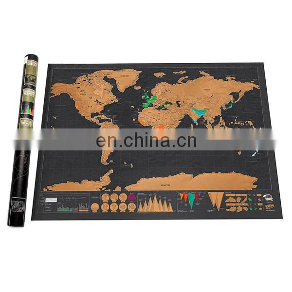 2017 travle wall world map mini scratch off foil layer coating poster