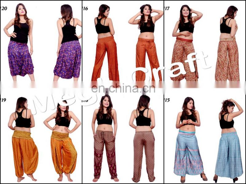 Indo Western Palazzo Pant - Indian Rayon Pants Trouser- Hippie Style Belly Trousers Pants-