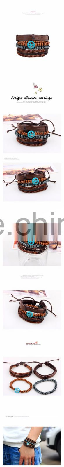 Global best selling items rope bracelet for men fashion multi layer leather bracelet with wooden small beads bracelet