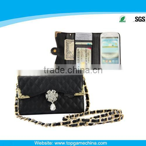 Smartphone wallet style leather case for samsung galaxy s3 mini i8190
