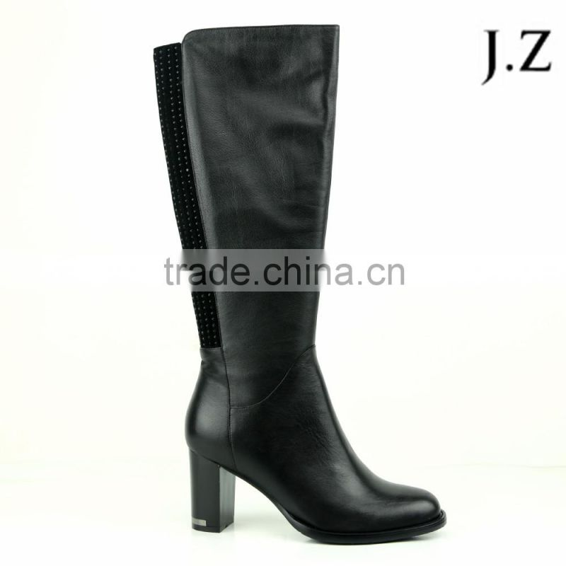 OB63 italian designer women fashion leather upper comfortable thigh high boots block heel and round toe