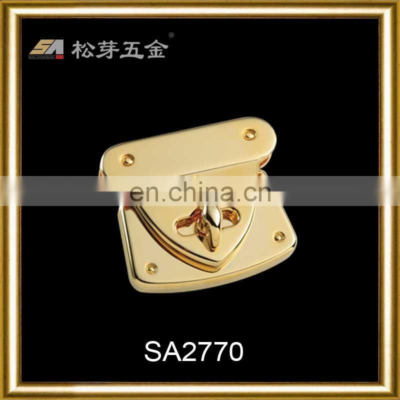 High-End Quality Bag And Luggage Metal Clasp, 18K Gold Plated Twist Lock, Metal Hand Bag End Clasp
