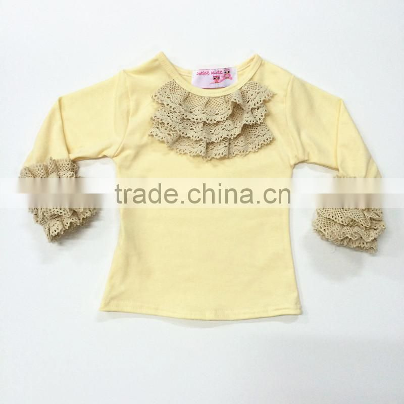 2016 latest lace ruffle shirts baby girl shirt baby clothes wholesale girls ruffle shirts toddler