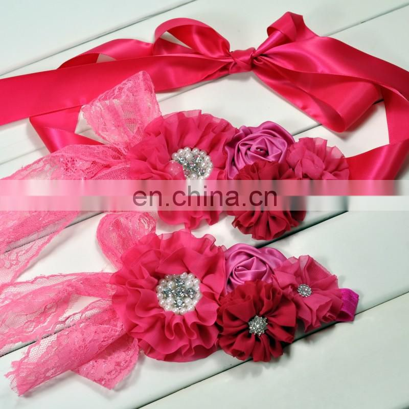 Fuchsia Flower Sash & Headband Sets Hot Pink Floral Crown With Bows Baby Sash Ribbon