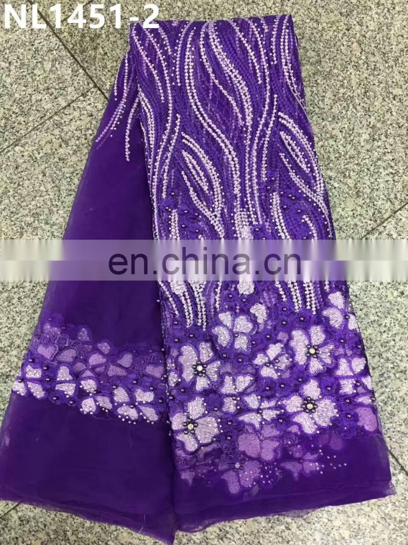 2017 Royal blue lace with stones embroideried flowers beaded lace fabric new fashion bridal lace
