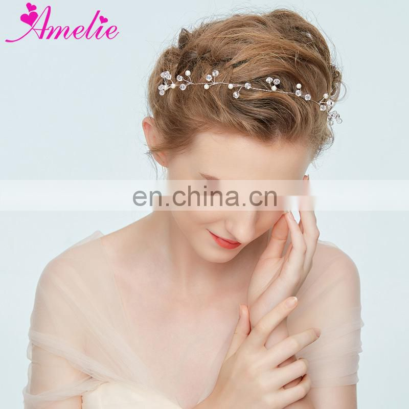 Classic Wedding Headbans Delicate Crystal Simulated Pearl Accessories Bridal Bridesmaid Hair Vine Prom Communion Dresses Decor