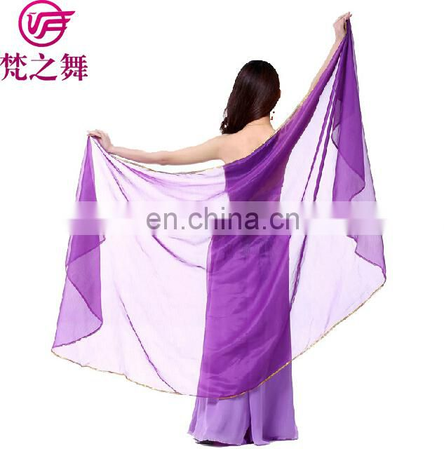 Chiffon Belly Dance half veils with gold silver finition women dance veil scarf Dance accessories 12 colors P-9059#