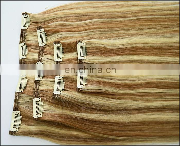 Indian virgin remy human hair extension, Hot Beauty Hair clip in hair
