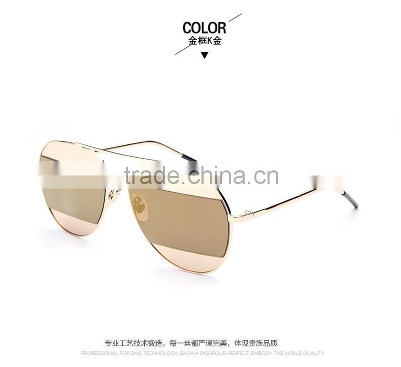 Wholesale summer catwalk models tri-color color female sunglasses