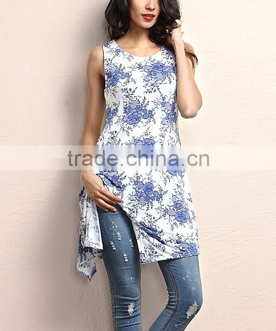 Hot Selling Women Tops With Blue And White Floral Sidetail Sleeveless Tunic Women Flower Blouse Women Wear GD90426-44