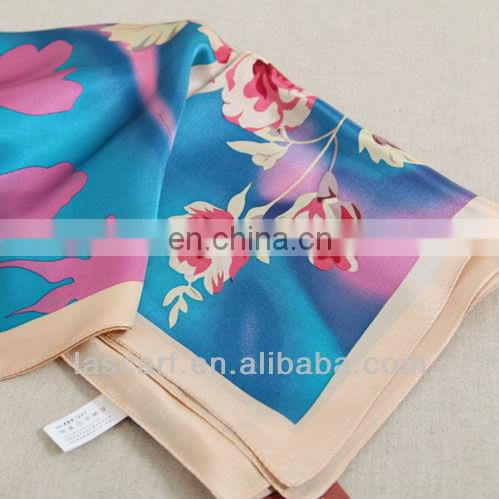 Ladies' real silk square shawl with floral printed (zx219)