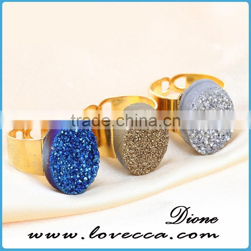 New Popular Colored plated hand made rings silver druzy ring