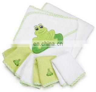 100% Cotton Hooded Terry Bath Towel with 4 Washcloths