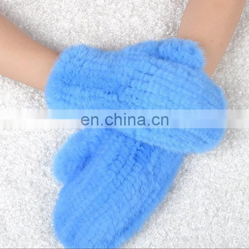 2016 new fashion genuine min fur high quality weaven fur mittens