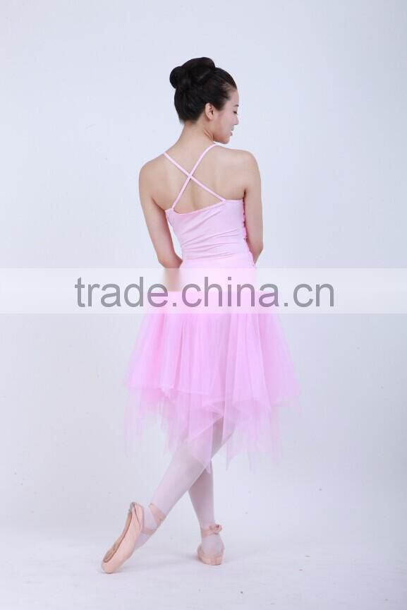 Girls party dresses cheap pink shinny sequined camisole long lyrical ballet dance net dresses costumes D032008