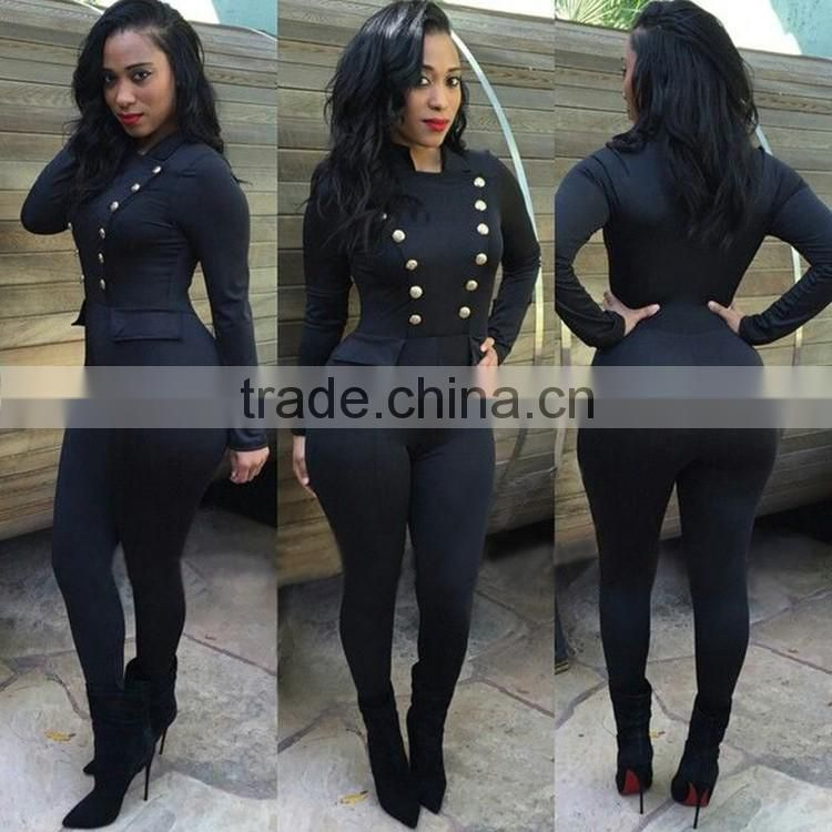 Wholesale Autumn Fashion Women One Piece Jumpsuit Ladies Double-Breasted Long Sleeve Black Skin Tight Jumpsuits For Women 2016