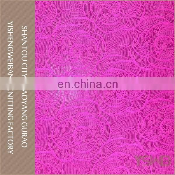Beautiful flower design pink stretch knitted fabric wholesale lace