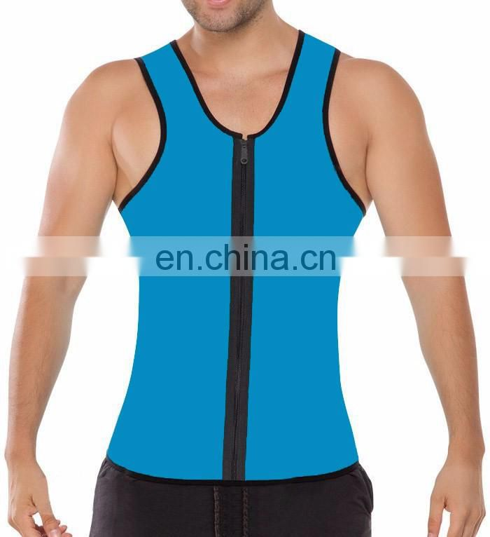 Fashion Mens Sweat Girdle Oiginal Latex Sport Thermo Corset Zipper Open