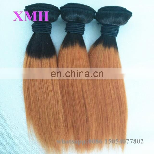 High Quality 12inch Short Hairstyle Wet and Wavy Ombre Colored Indian Human Hair Weave
