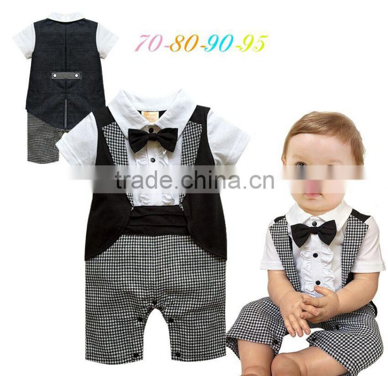 Baby Boy Tuxedo Romper Suit Newborn Boys One Pieces Rompers Baby Boy Formal Clothes Infant Gentleman Jumpsuit