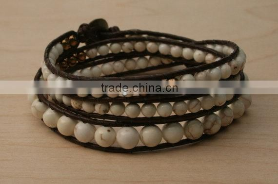 White Howlite Triple Wrap Leather Beaded Bracelet. Semiprecious beads. Hammered Copper button