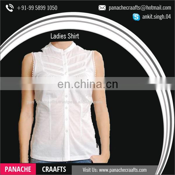 Summer White Sleeveless Shirt for Women