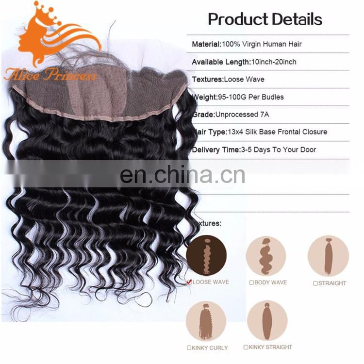 7A Silk Base Frontal Virgin Brazilian Hair Deep Wave Lace Frontal 13x4 With Baby Hair