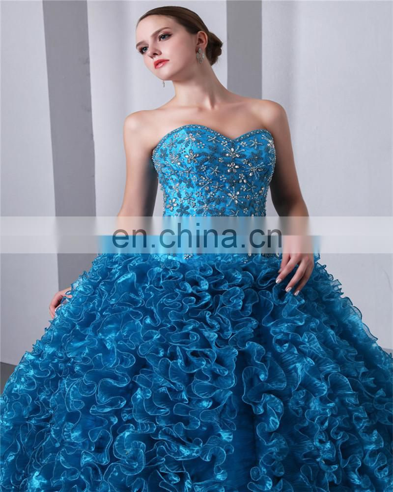 5337f0e5eff ... Blue Sweetheart Sleeveless Sweep Train Lace-up Evening Gowns Piping Beaded  Quinceaneras Dress ...