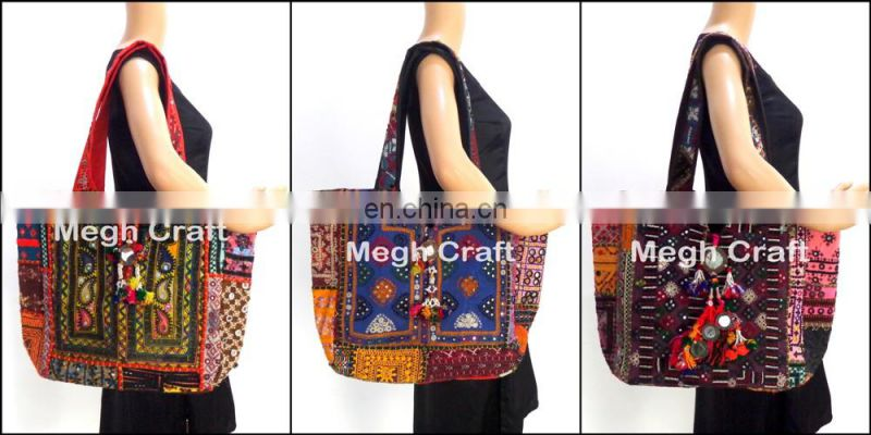 Handmade genuine leather tote Handbag- Indian Vintage Banjara Leather tote Bag- Tribal Banjara Boho Leather Bag
