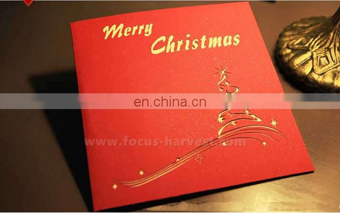 Hot sell merry christmas/new year greeting card,3D holiday greeting card