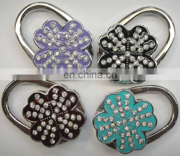 Hot Foldable Mirror Crystal Heart Bag Hanger