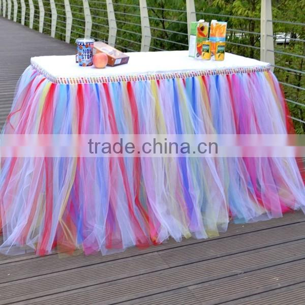 Wedding Prop Birthday Prom Party Baby Shower Bow Table Skirts Tutu Tulle Decorations SD103