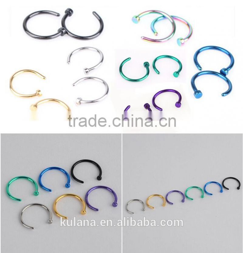 NR9111 Hot Sale Medical golden Nose Hoop Nose Rings Body Piercing Jewelry 7 Colors Body Jewelry