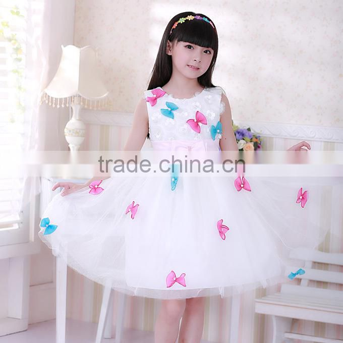 2016 Newest Girls Wedding Dresses Bows White Princess Kids Dress For Korean Style Children Clothes GD40829-9