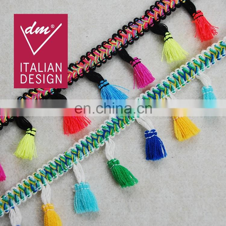 Top fashion multico Ethnic design fringe tassel trim