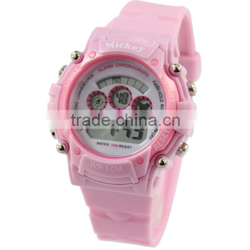 Popular Pink Children Kids Students Teenagers Lovely Sports Xmas Gift Hours Digital LED Wrist Hand Watches, Free & Drop Shipping
