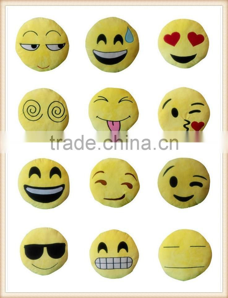 NEW EMOJI SMILEY EMOTICON YELLOW ROUND CUSHION PILLOW STUFFED PLUSH SOFT TOY UK