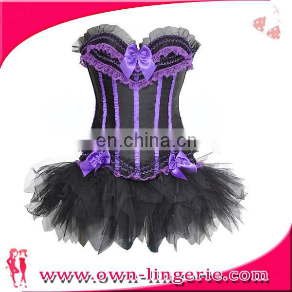 Sexy Purpel Top Waist Corsets Skirt