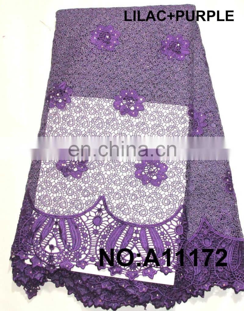 lilac+purple Color and Embroidered Technics Guipure Lace Fabric