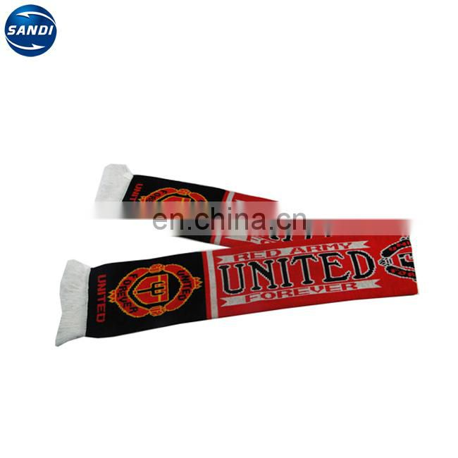 Promotional custom knitted sport football scarf