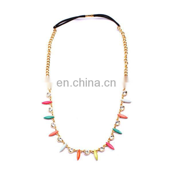 Hotsale fashion colorful acrylic bead jewelry head chain